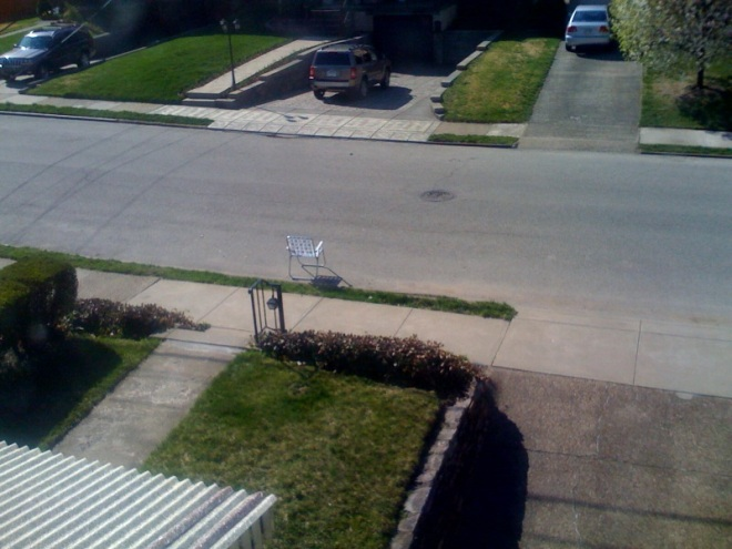 This is the first time as Pittsburgh residents we have reserved a parking space with a chair. We were glad we did, too; apparently our street is where everyone comes to observe Easter, and it wouldn't have been good to make Mrs. Crappy's grandmother walk much further.