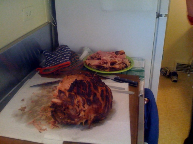 There were many pictures of ham in my Brightkite stream on Sunday. Here's mine. It was delicious.