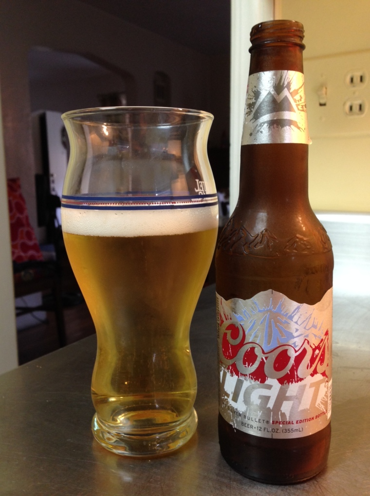 Coors Light, Molson Coors Brewing (MillerCoors). Light American lager, 4.1 percent alcohol by volume. First thing? Coors Light is fizzy. As in like ginger ale fizzy. The  other thing? This was the sweetest beer of the bunch. And that's not a good thing.