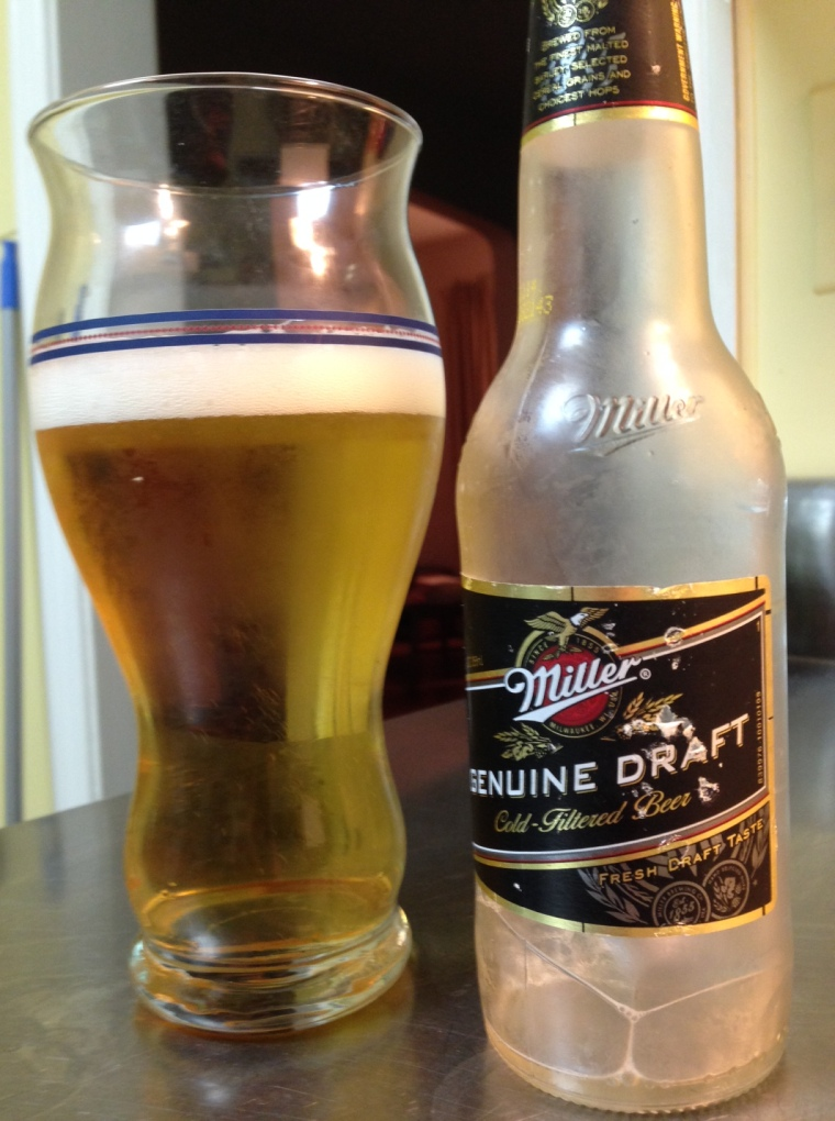 Miller Genuine Draft, SABMiller (MillerCoors). American adjunct lager. 4.6 percent alcohol by volume. I spent some time with MGD in my youth as well, and this beer was pretty much as I remembered it -- thin, bland and inoffensive. Which is probably not what Miller was going for.